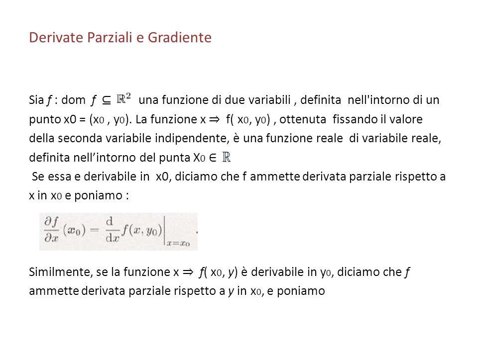 Derivate Parziali e Gradiente Sia f : dom f una funzione di due variabili, definita nell'intorno di un punto x0 = (x 0, y 0 ). La funzione x f( x 0, y
