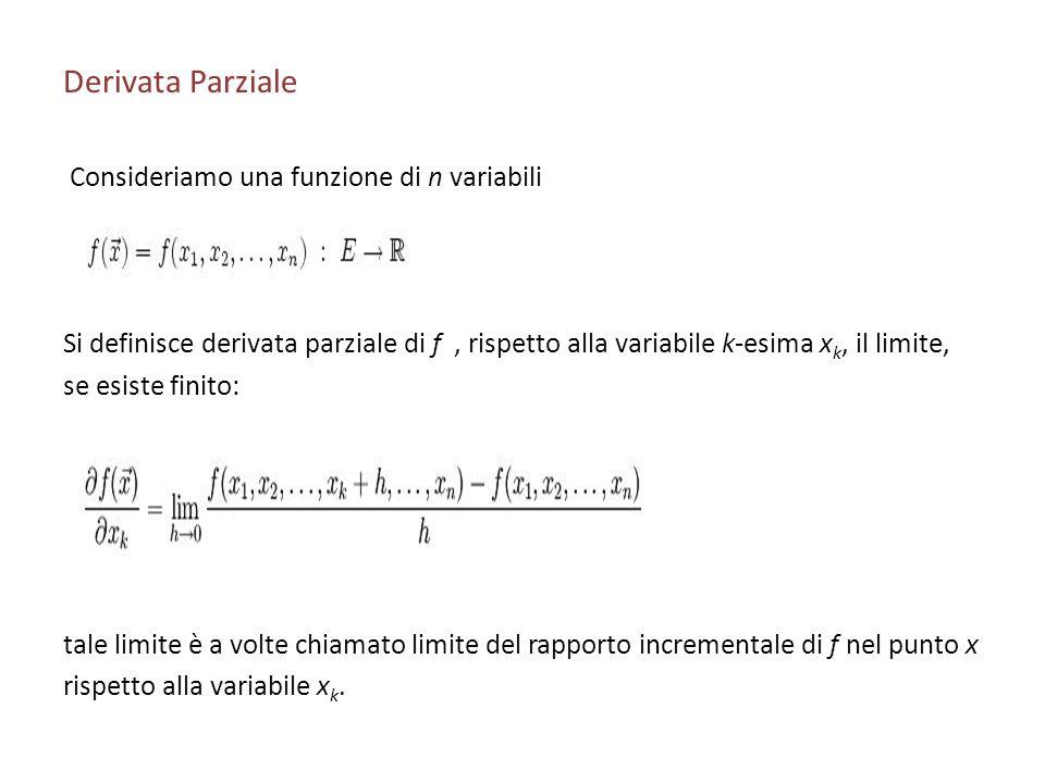 Derivata Parziale Consideriamo una funzione di n variabili Si definisce derivata parziale di f, rispetto alla variabile k-esima x k, il limite, se esi