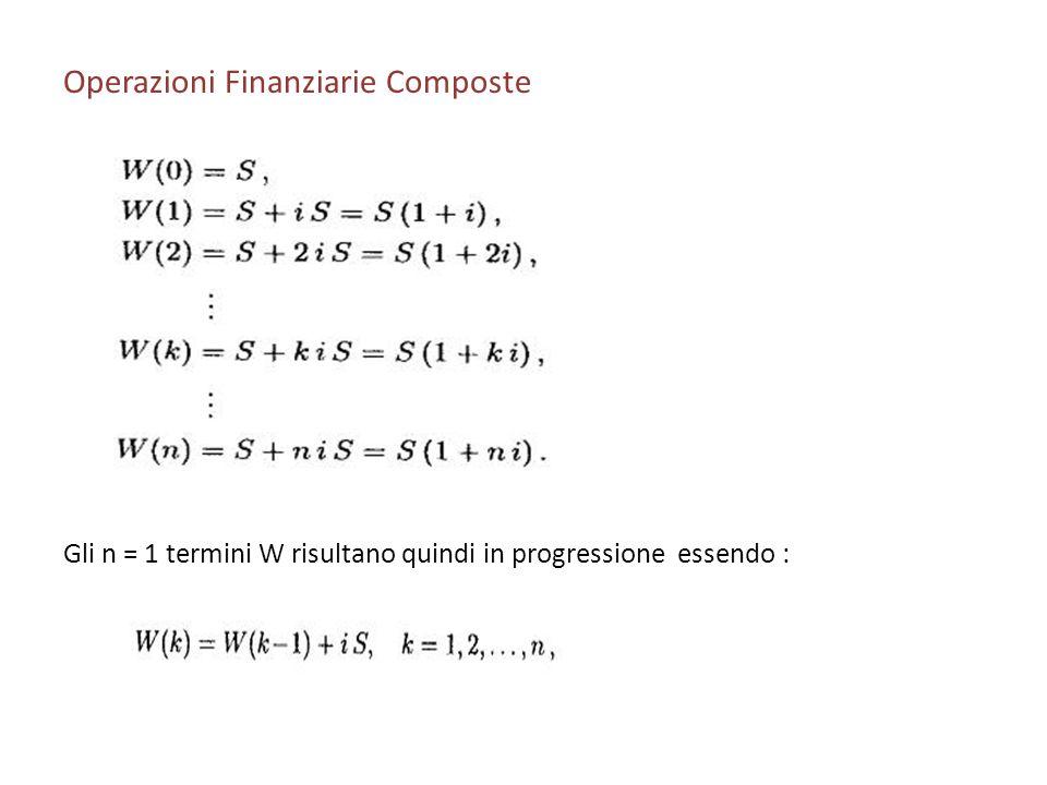Operazioni Finanziarie Composte Gli n = 1 termini W risultano quindi in progressione essendo :