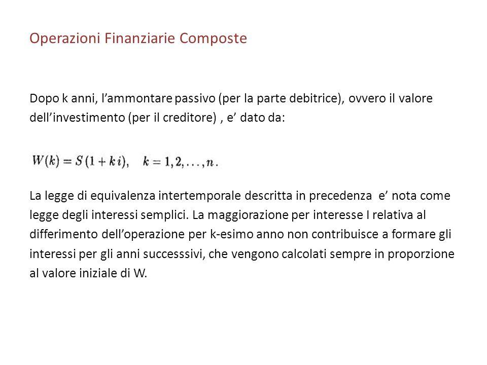 Operazioni Finanziarie Composte Dopo k anni, lammontare passivo (per la parte debitrice), ovvero il valore dellinvestimento (per il creditore), e dato