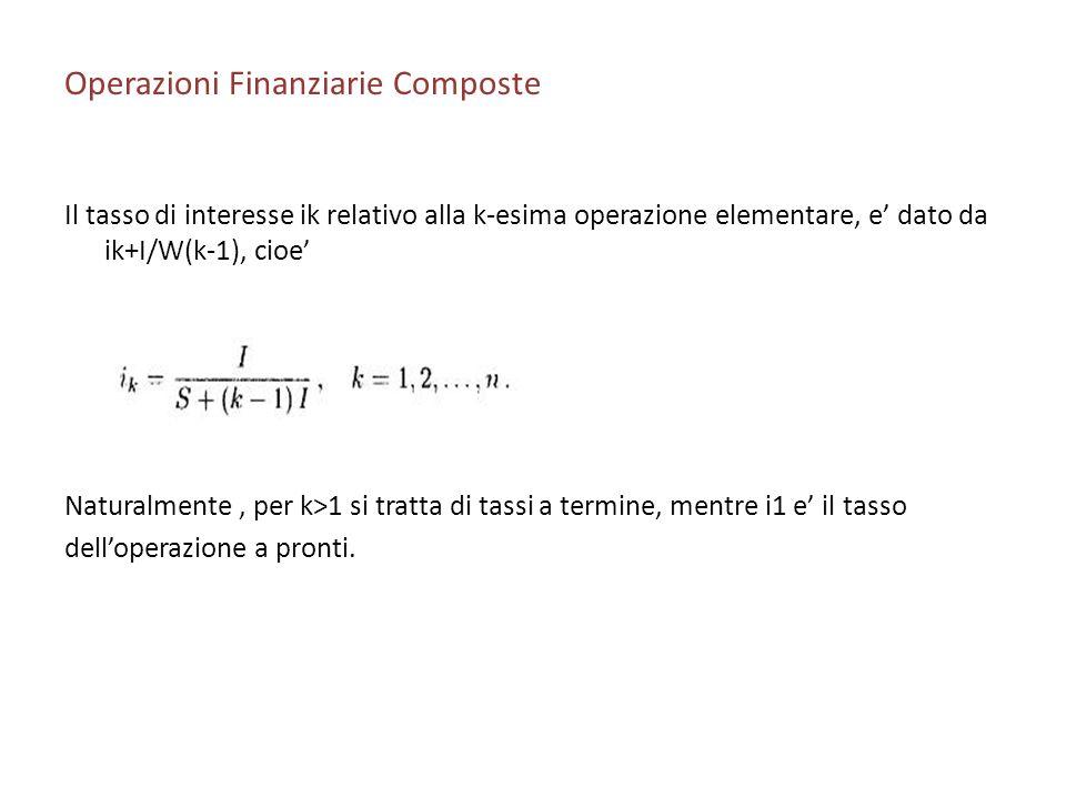 Operazioni Finanziarie Composte Il tasso di interesse ik relativo alla k-esima operazione elementare, e dato da ik+I/W(k-1), cioe Naturalmente, per k>