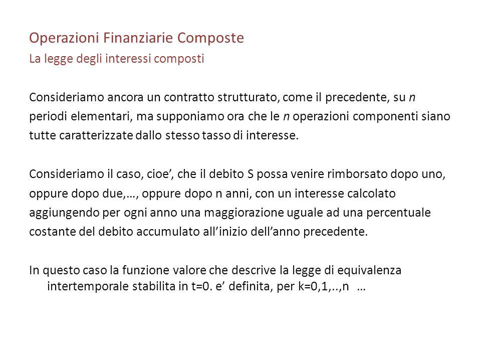 Operazioni Finanziarie Composte La legge degli interessi composti Consideriamo ancora un contratto strutturato, come il precedente, su n periodi eleme