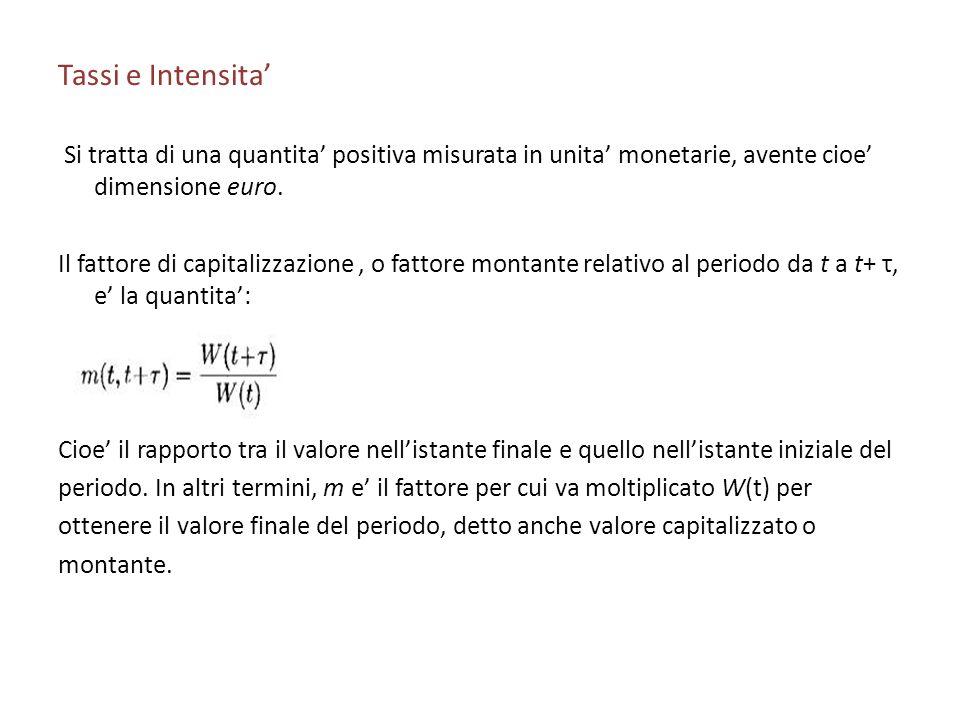 Tassi e Intensita Si tratta di una quantita positiva misurata in unita monetarie, avente cioe dimensione euro. Il fattore di capitalizzazione, o fatto