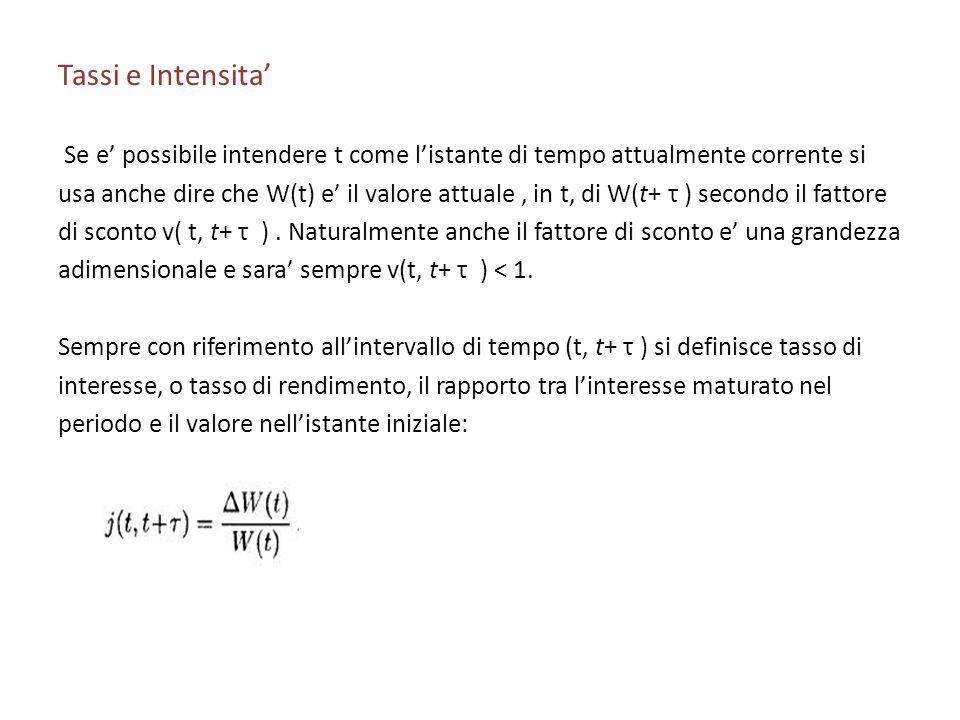 Tassi e Intensita Se e possibile intendere t come listante di tempo attualmente corrente si usa anche dire che W(t) e il valore attuale, in t, di W(t+