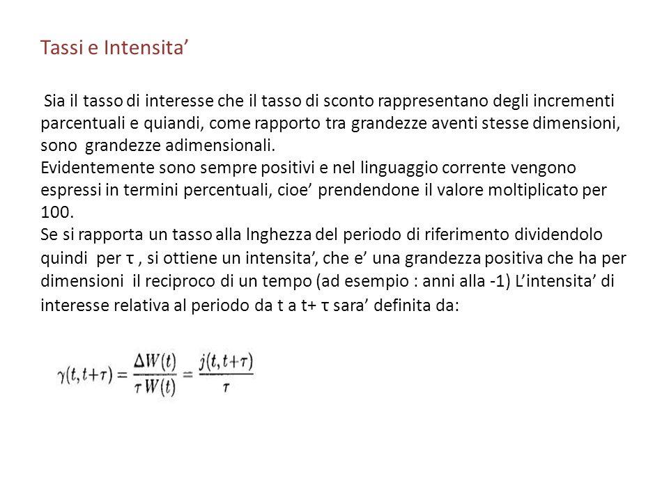 Tassi e Intensita Sia il tasso di interesse che il tasso di sconto rappresentano degli incrementi parcentuali e quiandi, come rapporto tra grandezze a