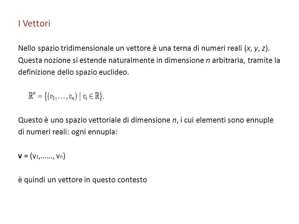 I Vettori Nello spazio tridimensionale un vettore è una terna di numeri reali (x, y, z). Questa nozione si estende naturalmente in dimensione n arbitr
