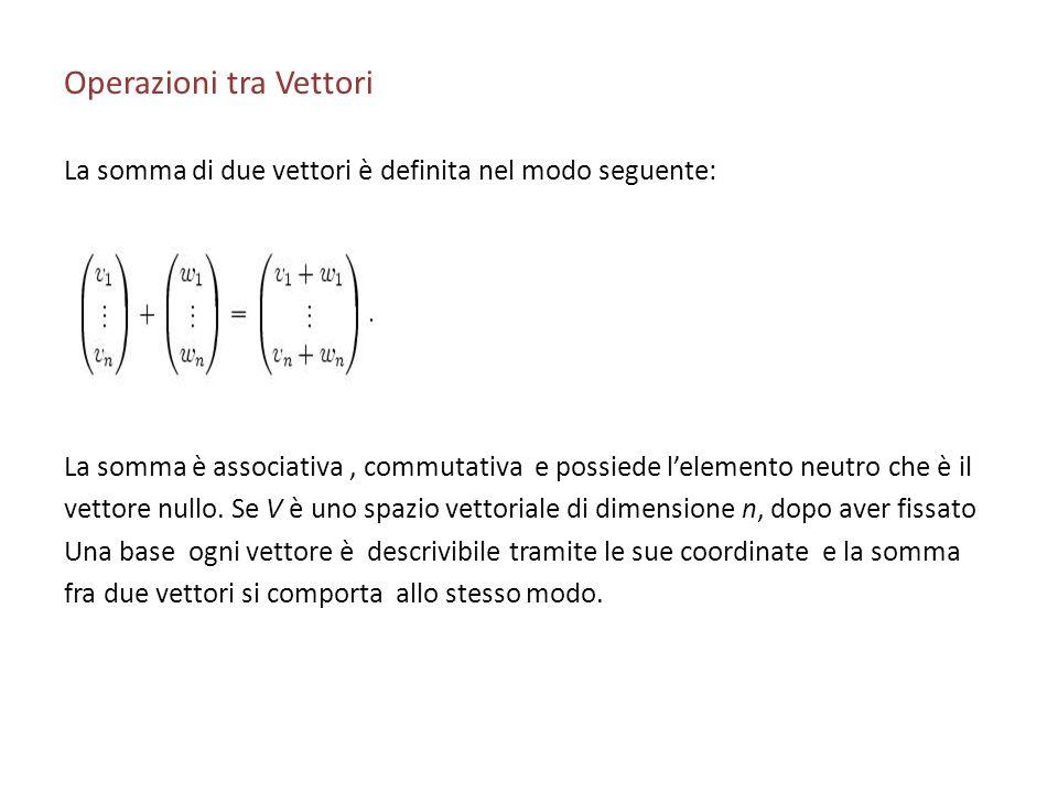 Operazioni tra Vettori La somma di due vettori è definita nel modo seguente: La somma è associativa, commutativa e possiede lelemento neutro che è il
