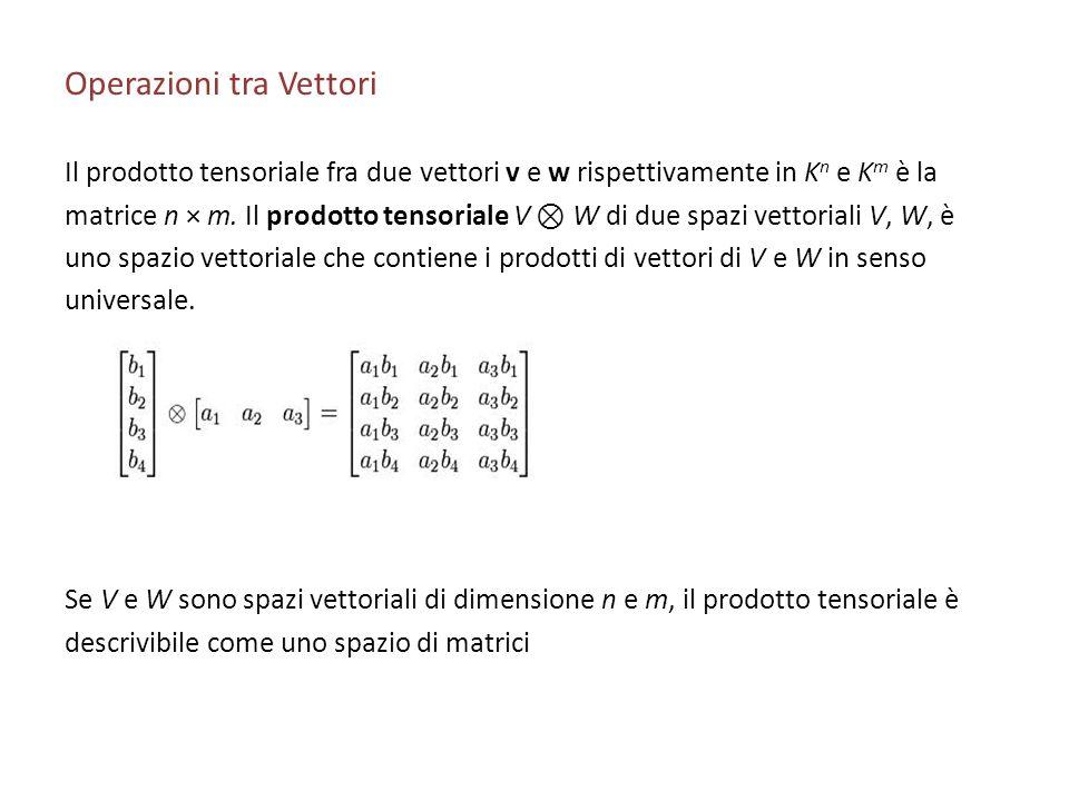 Operazioni tra Vettori Il prodotto tensoriale fra due vettori v e w rispettivamente in K n e K m è la matrice n × m. Il prodotto tensoriale V W di due