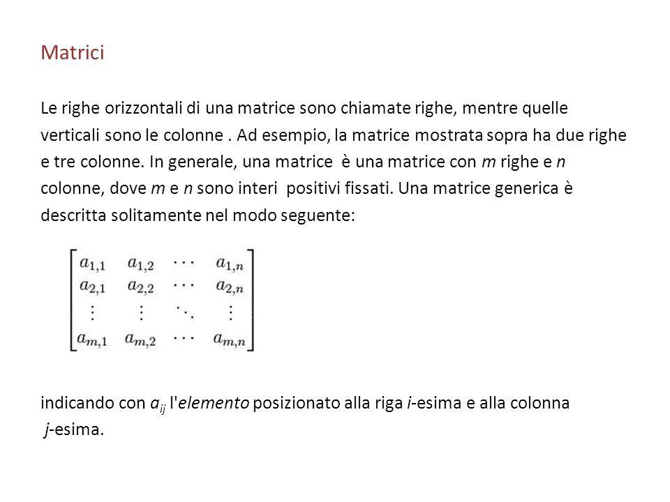 Matrici Le righe orizzontali di una matrice sono chiamate righe, mentre quelle verticali sono le colonne. Ad esempio, la matrice mostrata sopra ha due