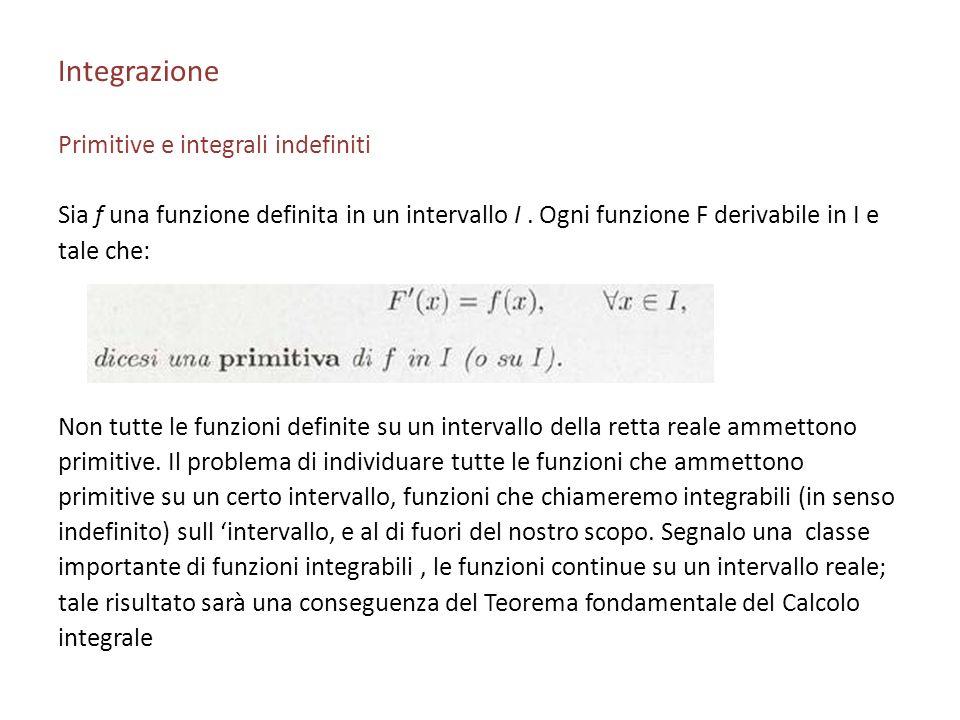 Integrazione Primitive e integrali indefiniti Sia f una funzione definita in un intervallo I. Ogni funzione F derivabile in I e tale che: Non tutte le