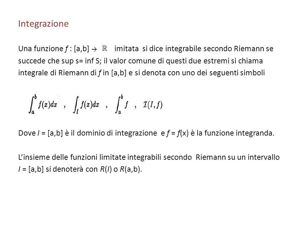 Integrazione Una funzione f : [a,b] l limitata si dice integrabile secondo Riemann se succede che sup s= inf S; il valor comune di questi due estremi