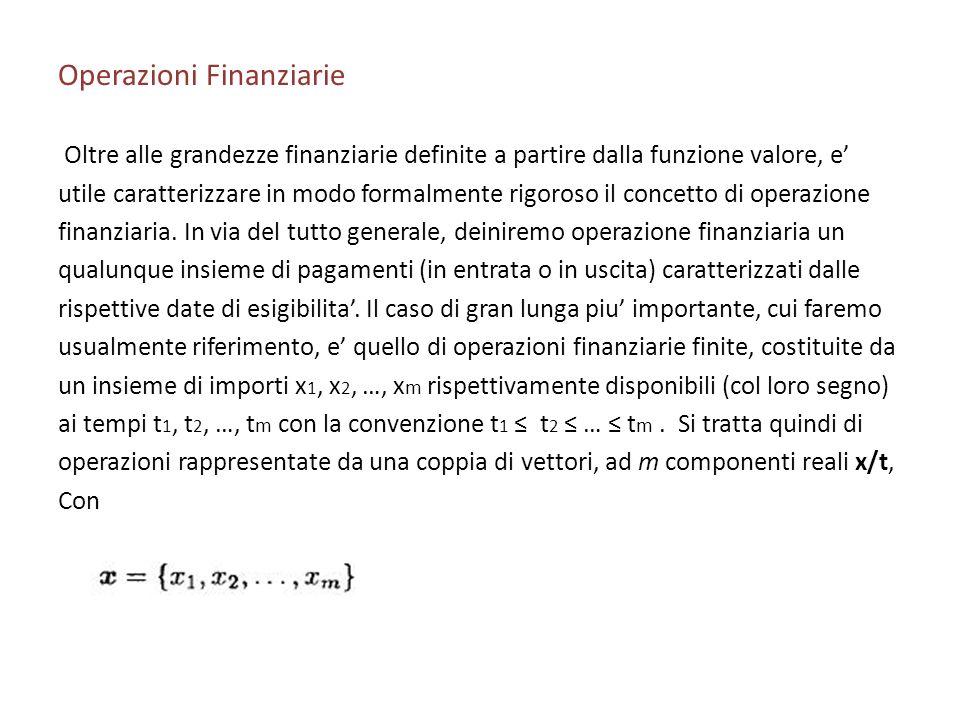 Operazioni Finanziarie Oltre alle grandezze finanziarie definite a partire dalla funzione valore, e utile caratterizzare in modo formalmente rigoroso