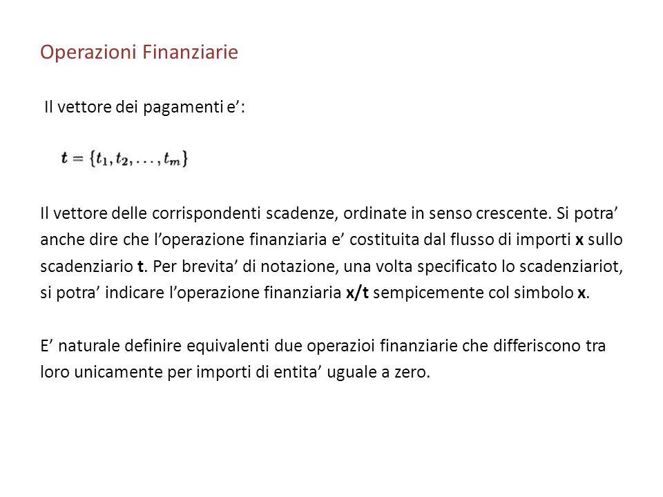 Operazioni Finanziarie Il vettore dei pagamenti e: Il vettore delle corrispondenti scadenze, ordinate in senso crescente. Si potra anche dire che lope