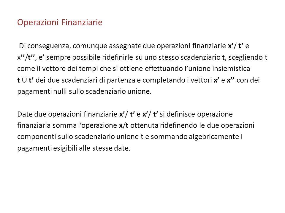 Operazioni Finanziarie Di conseguenza, comunque assegnate due operazioni finanziarie x/ t e x/t, e sempre possibile ridefinirle su uno stesso scadenzi
