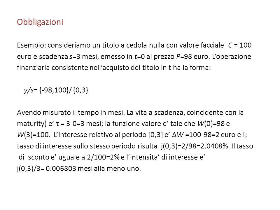 Obbligazioni Esempio: consideriamo un titolo a cedola nulla con valore facciale C = 100 euro e scadenza s=3 mesi, emesso in t=0 al prezzo P=98 euro. L