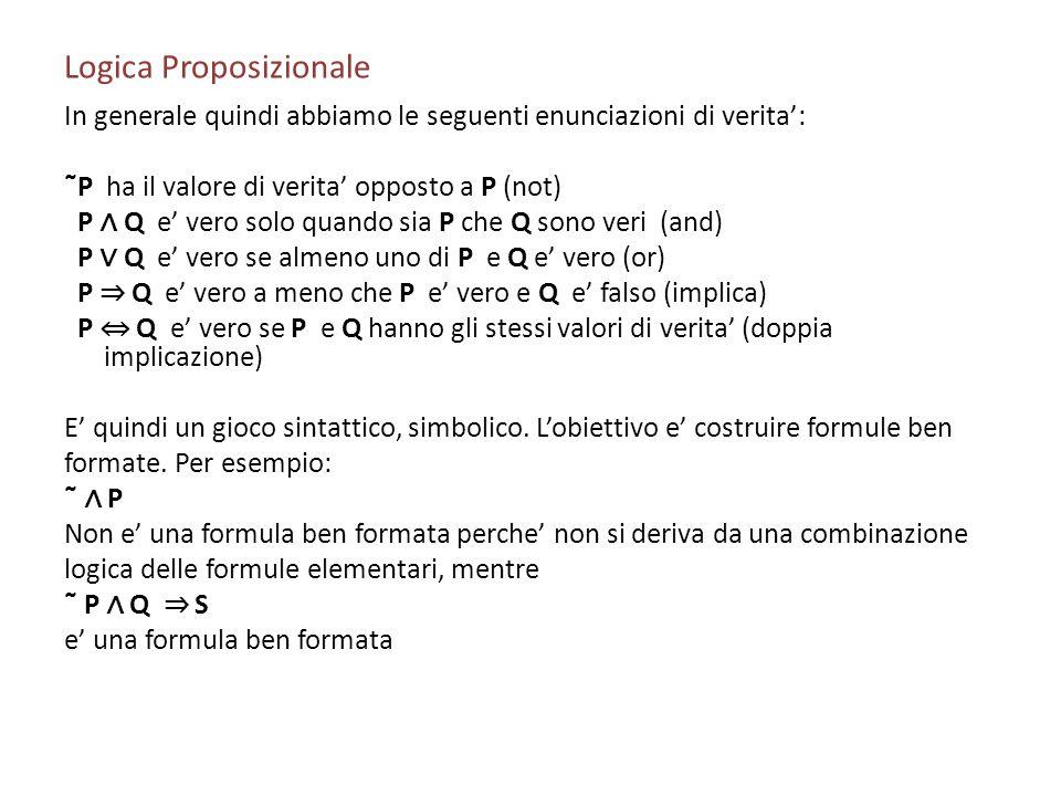 Logica Proposizionale In generale quindi abbiamo le seguenti enunciazioni di verita: ˜P ha il valore di verita opposto a P (not) P Q e vero solo quand