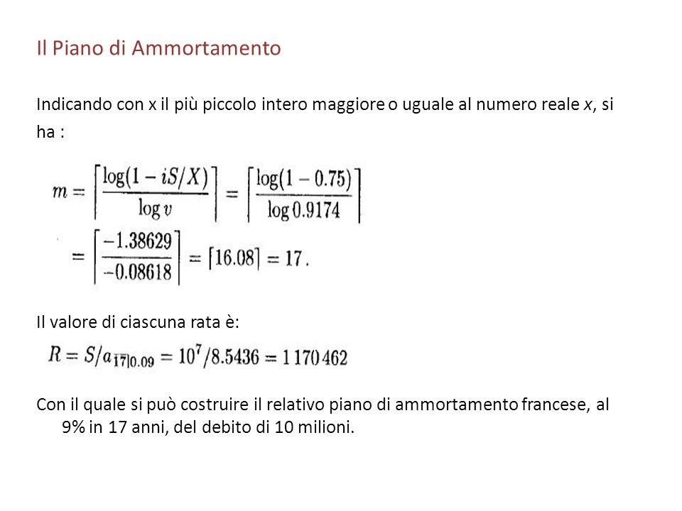 Il Piano di Ammortamento Indicando con x il più piccolo intero maggiore o uguale al numero reale x, si ha : Il valore di ciascuna rata è: Con il quale
