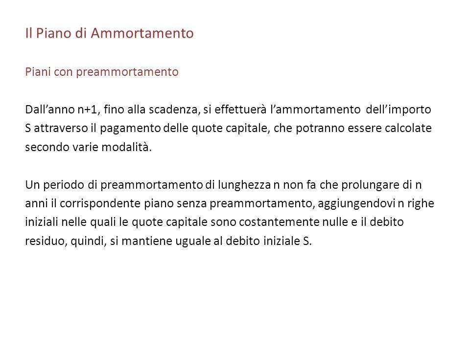 Il Piano di Ammortamento Piani con preammortamento Dallanno n+1, fino alla scadenza, si effettuerà lammortamento dellimporto S attraverso il pagamento