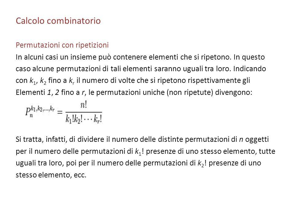 Calcolo combinatorio Permutazioni con ripetizioni In alcuni casi un insieme può contenere elementi che si ripetono. In questo caso alcune permutazioni