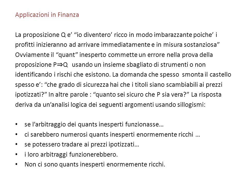 Applicazioni in Finanza La proposizione Q e io diventero ricco in modo imbarazzante poiche i profitti inizieranno ad arrivare immediatamente e in misu