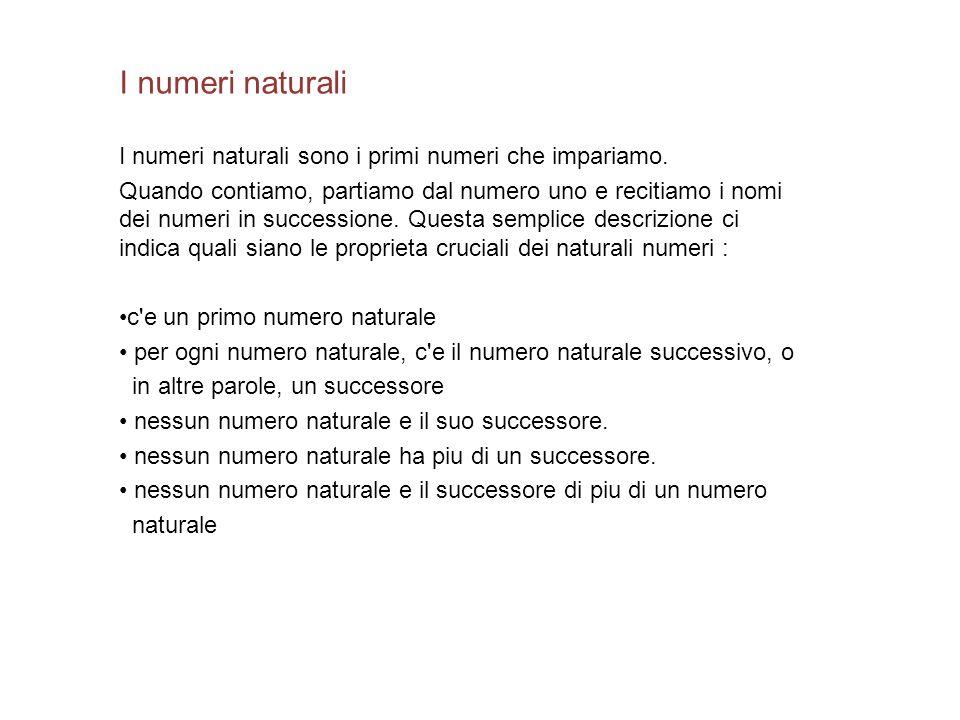 I numeri naturali I numeri naturali sono i primi numeri che impariamo. Quando contiamo, partiamo dal numero uno e recitiamo i nomi dei numeri in succe