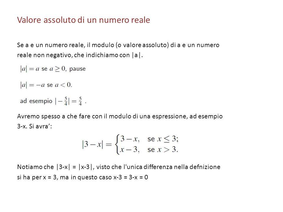 Valore assoluto di un numero reale Se a e un numero reale, il modulo (o valore assoluto) di a e un numero reale non negativo, che indichiamo con |a|.