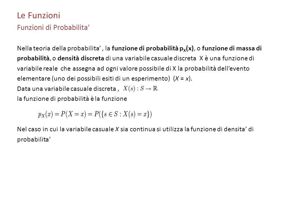 Le Funzioni Funzioni di Probabilita Nella teoria della probabilita, la funzione di probabilità p X (x), o funzione di massa di probabilità, o densità