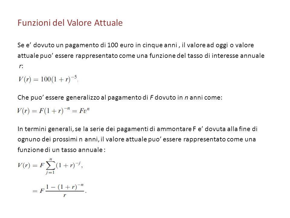 Funzioni del Valore Attuale Se e dovuto un pagamento di 100 euro in cinque anni, il valore ad oggi o valore attuale puo essere rappresentato come una