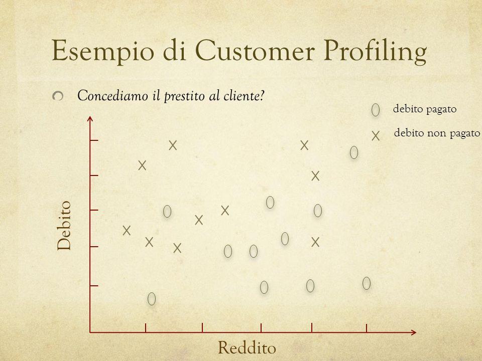 Esempio di Customer Profiling Reddito Debito Concediamo il prestito al cliente.