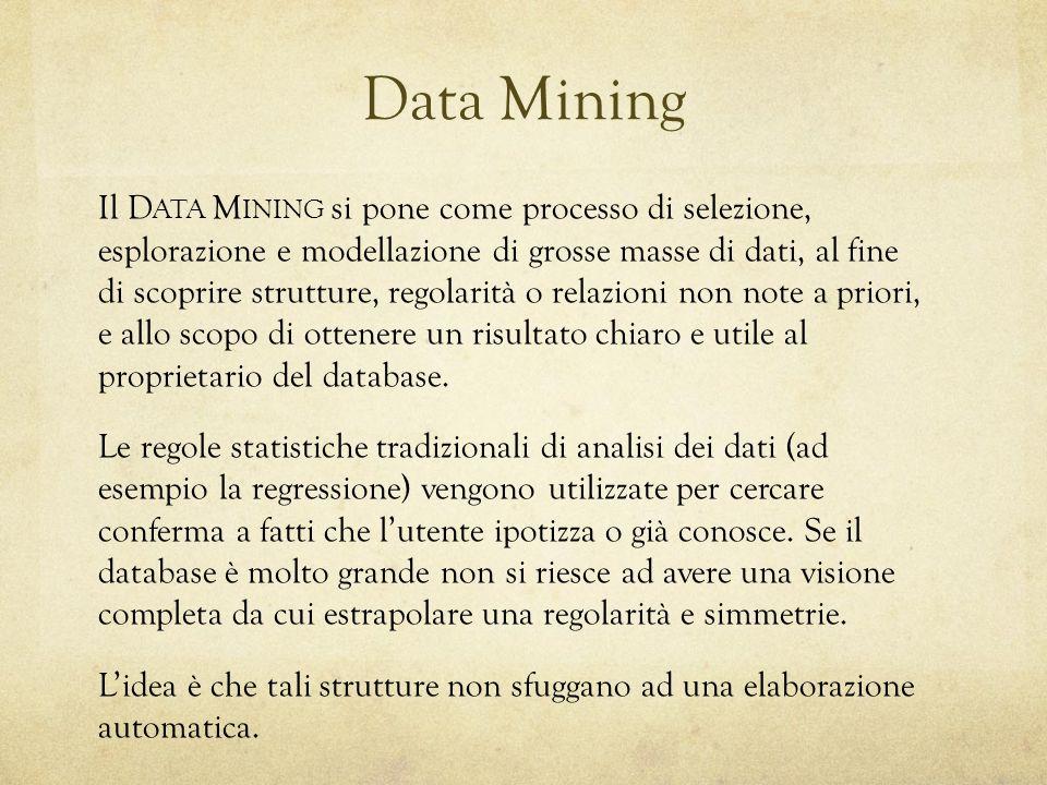 Il D ATA M INING si pone come processo di selezione, esplorazione e modellazione di grosse masse di dati, al fine di scoprire strutture, regolarità o relazioni non note a priori, e allo scopo di ottenere un risultato chiaro e utile al proprietario del database.