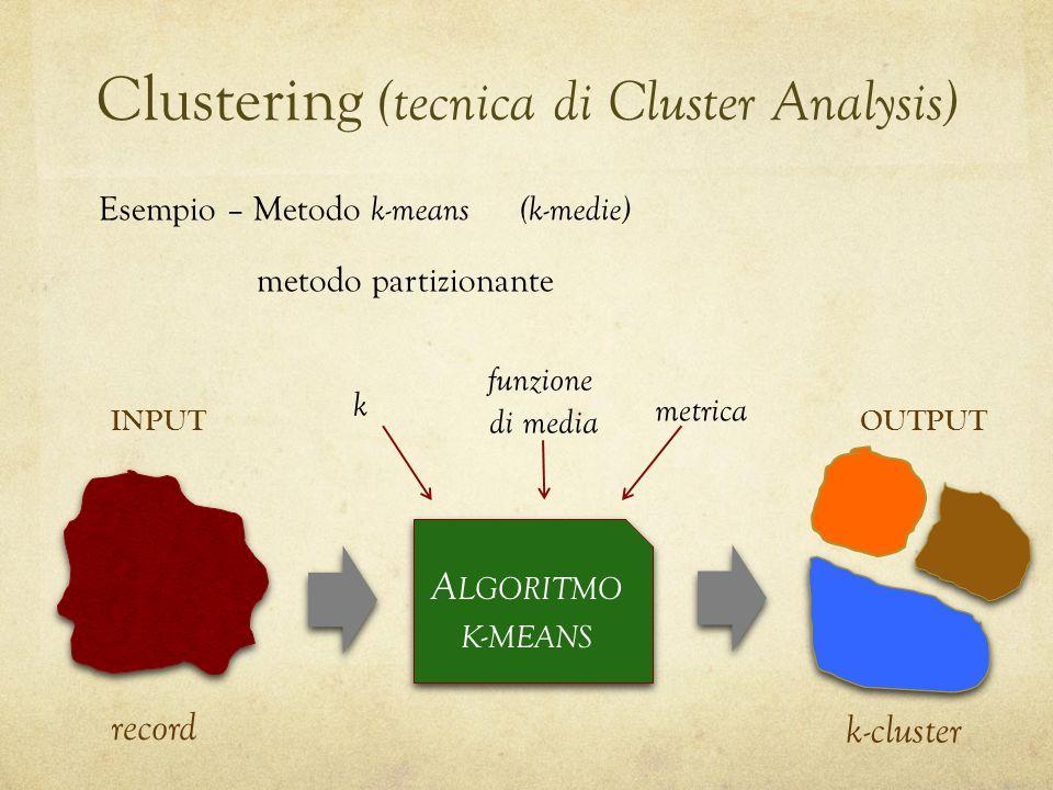 Clustering (tecnica di Cluster Analysis) Esempio – Metodo k-means (k-medie) metodo partizionante A LGORITMO K - MEANS k-cluster record INPUTOUTPUT k funzione di media metrica