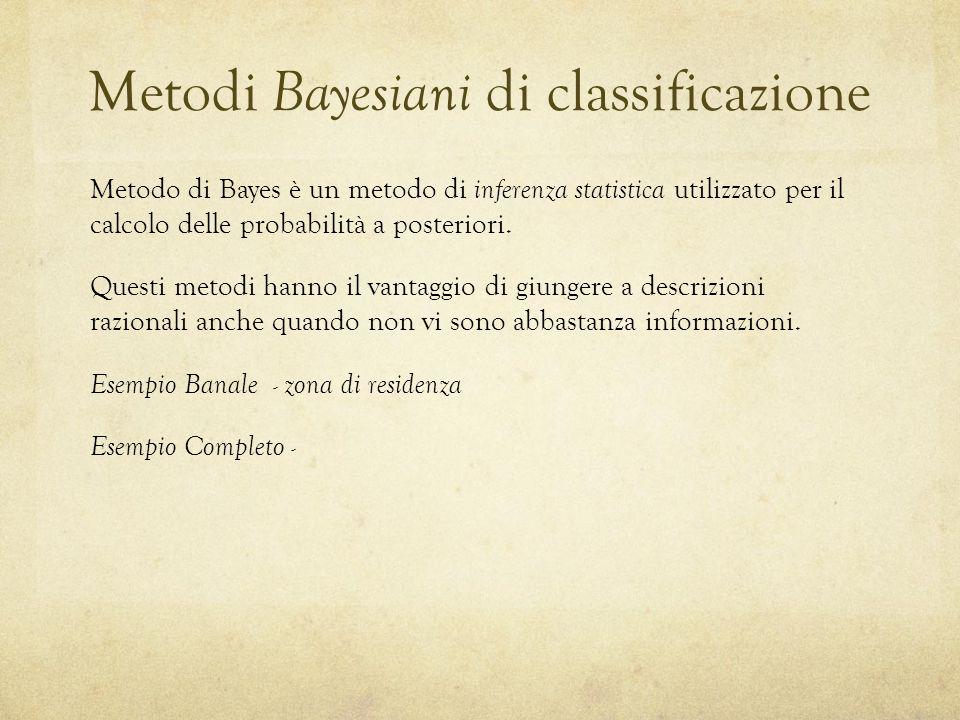 Metodi Bayesiani di classificazione Metodo di Bayes è un metodo di inferenza statistica utilizzato per il calcolo delle probabilità a posteriori.