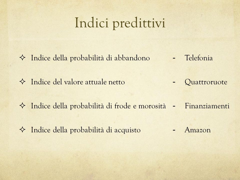 Clustering (tecnica di Cluster Analysis) 5.