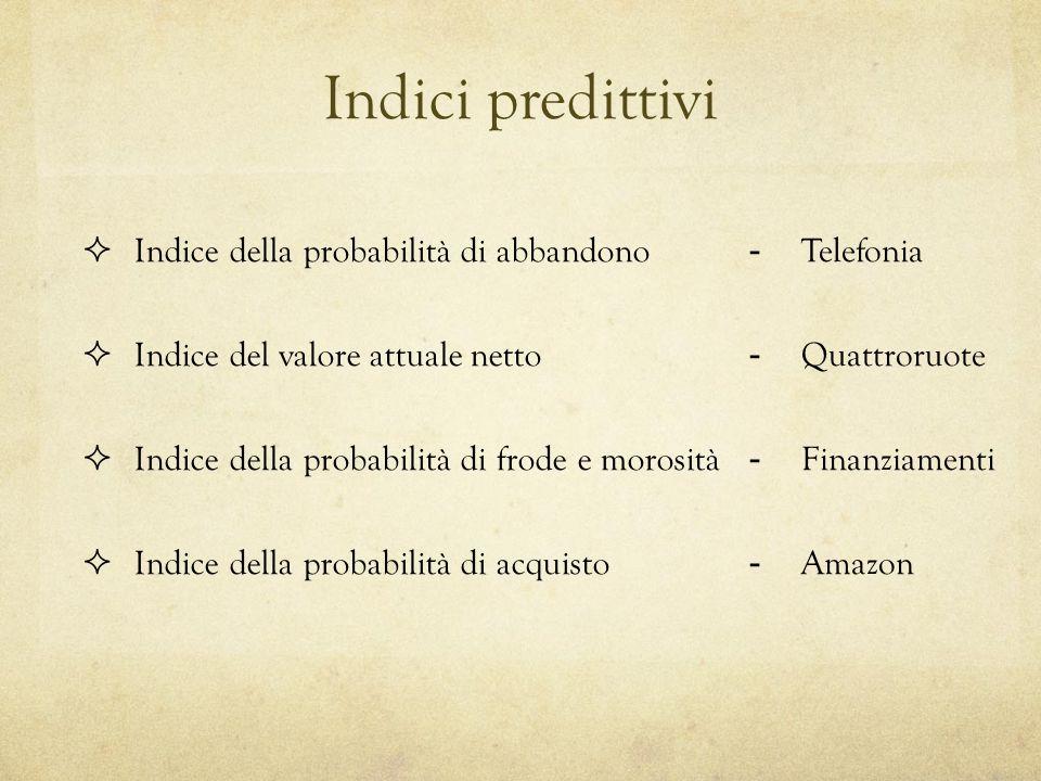 Indici predittivi Indice della probabilità di abbandono Indice del valore attuale netto Indice della probabilità di frode e morosità Indice della probabilità di acquisto -Telefonia -Quattroruote -Finanziamenti -Amazon
