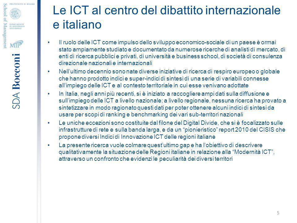 Le ICT al centro del dibattito internazionale e italiano Il ruolo delle ICT come impulso dello sviluppo economico-sociale di un paese è ormai stato ampiamente studiato e documentato da numerose ricerche di analisti di mercato, di enti di ricerca pubblici e privati, di università e business school, di società di consulenza direzionale nazionali e internazionali Nellultimo decennio sono nate diverse iniziative di ricerca di respiro europeo o globale che hanno prodotto indici e super-indici di sintesi di una serie di variabili connesse allimpiego delle ICT e al contesto territoriale in cui esse venivano adottate In Italia, negli anni più recenti, si è iniziato a raccogliere ampi dati sulla diffusione e sullimpiego delle ICT a livello nazionale; a livello regionale, nessuna ricerca ha provato a sintetizzare in modo ragionato questi dati per poter ottenere alcuni indici di sintesi da usare per scopi di ranking e benchmarking dei vari sub-territori nazionali Le uniche eccezioni sono costituite dal filone del Digital Divide, che si è focalizzato sulle infrastrutture di rete e sulla banda larga, e da un pionieristico report 2010 del CISIS che propone diversi Indici di Innovazione ICT delle regioni italiane La presente ricerca vuole colmare questultimo gap e ha lobiettivo di descrivere qualitativamente la situazione delle Regioni italiane in relazione alla Modernità ICT, attraverso un confronto che evidenzi le peculiarità dei diversi territori 5