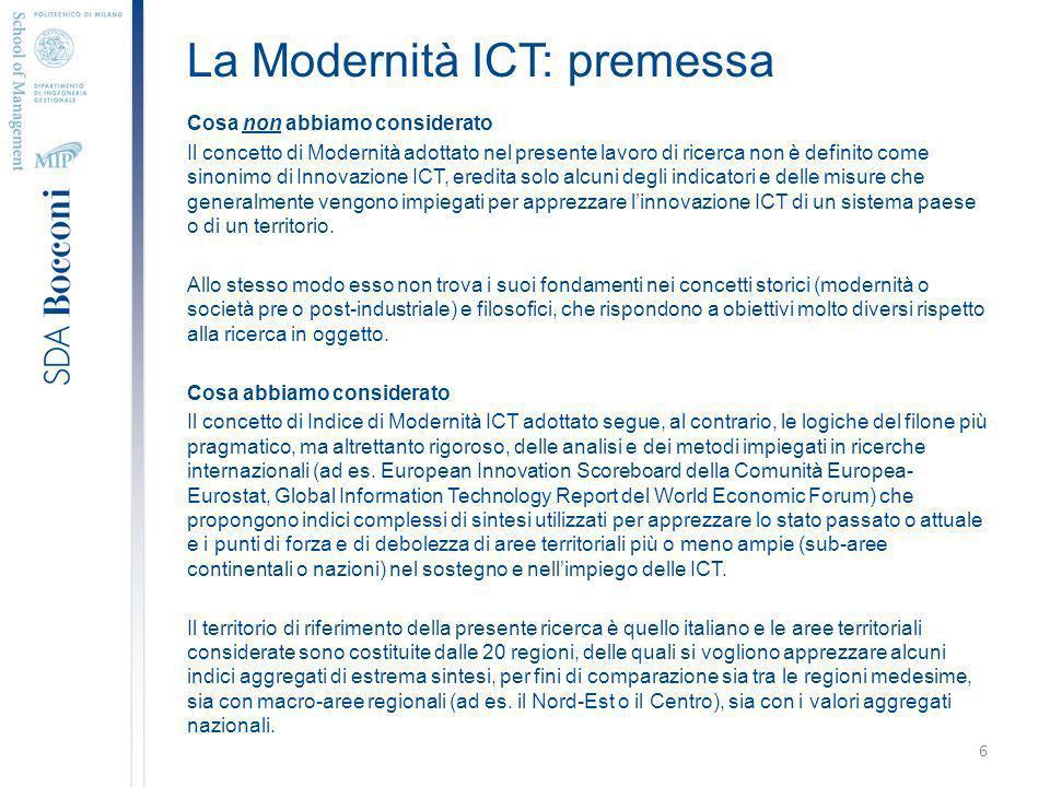 La Modernità ICT: premessa Cosa non abbiamo considerato Il concetto di Modernità adottato nel presente lavoro di ricerca non è definito come sinonimo di Innovazione ICT, eredita solo alcuni degli indicatori e delle misure che generalmente vengono impiegati per apprezzare linnovazione ICT di un sistema paese o di un territorio.
