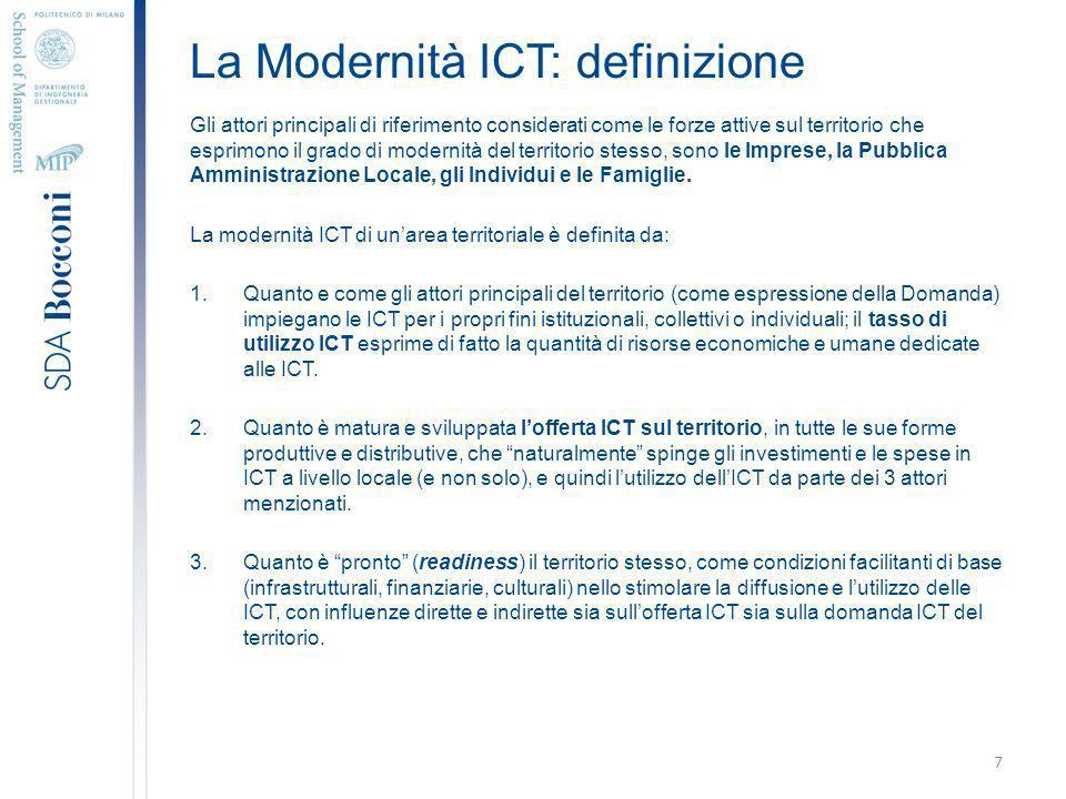 La Modernità ICT: definizione Gli attori principali di riferimento considerati come le forze attive sul territorio che esprimono il grado di modernità del territorio stesso, sono le Imprese, la Pubblica Amministrazione Locale, gli Individui e le Famiglie.