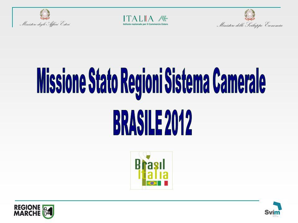 4° GIORNO - 23 maggio 2012 - sessioni parallele SAN PAOLO - SAN JOSE DOS CAMPOS - BELO HORIZONTE-RECIFE - CURITIBA PROGRAMMA PRELIMINARE DELLA MISSIONE DI SISTEMA DI GOVERNO - REGIONI - SISTEMA CAMERALE IN BRASILE SAN PAOLO Mattina: Trasferimento dallhotel alla sede degli incontri tecno tematici e degli incontri bilaterali Incontri tecno-tematici nei settori: EDILIZIA SOSTENIBILE (Coordinatore: Provincia Autonoma di Trento) LEGNO/ARREDO, CONTRACT E HOUSING SOCIALE (Coordinatore: Marche) SISTEMA MODA (Coordinatore: Molise) AGROALIMENTARE (Coordinatori: Calabria, Sicilia) Pomeriggio: 14.30 Per le imprese dei settori: EDILIZIA E EDILIZIA SOSTENIBILE/LEGNO – ARREDO/ CONTRACT E HOUSING SOCIALE/ SISTEMA MODA/ AGROALIMENTARE si prevedono: Un programma di visite ad associazioni di categoria, GDO, showroom di mobili, centri di distribuzione commerciale e punti vendita delle catene del Sistema Moda e alimentari presenti a San Paolo.