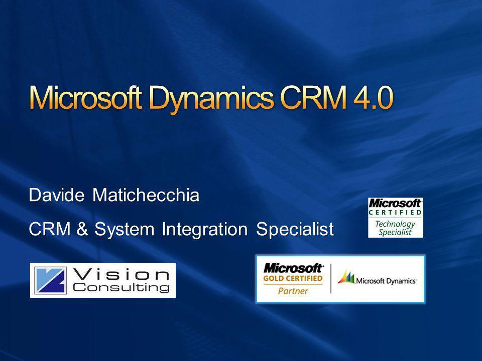 La strategia Microsoft Dynamics del Connected Business Dynamics CRM Novità della nuova versione 4.0 Caratteristiche di prodotto posizionamento Scenari di utilizzo Le chiavi di successo di un progetto CRM