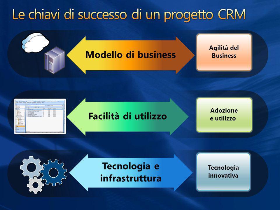 Adozione e utilizzo Agilità del Business Tecnologia innovativa Modello di business Facilità di utilizzo Tecnologia e infrastruttura