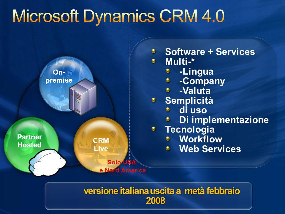 Software + Services Multi-* -Lingua -Company -Valuta Semplicità di uso Di implementazione Tecnologia Workflow Web Services Software + Services Multi-*