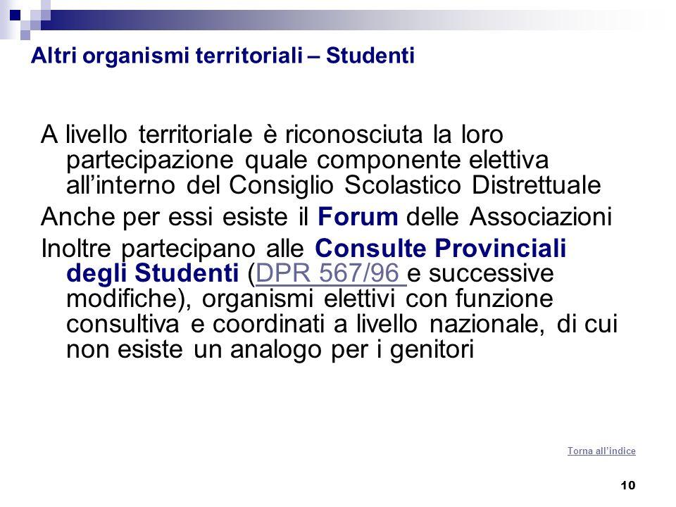 10 Altri organismi territoriali – Studenti A livello territoriale è riconosciuta la loro partecipazione quale componente elettiva allinterno del Consi