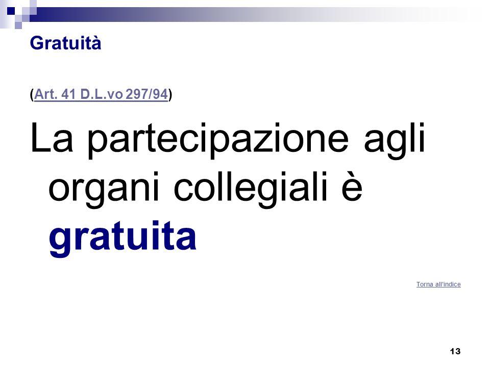 13 Gratuità (Art. 41 D.L.vo 297/94)Art. 41 D.L.vo 297/94 La partecipazione agli organi collegiali è gratuita Torna allindice