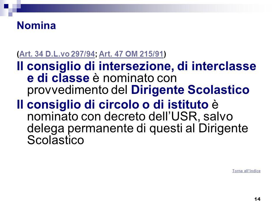 14 Nomina (Art.34 D.L.vo 297/94; Art. 47 OM 215/91)Art.