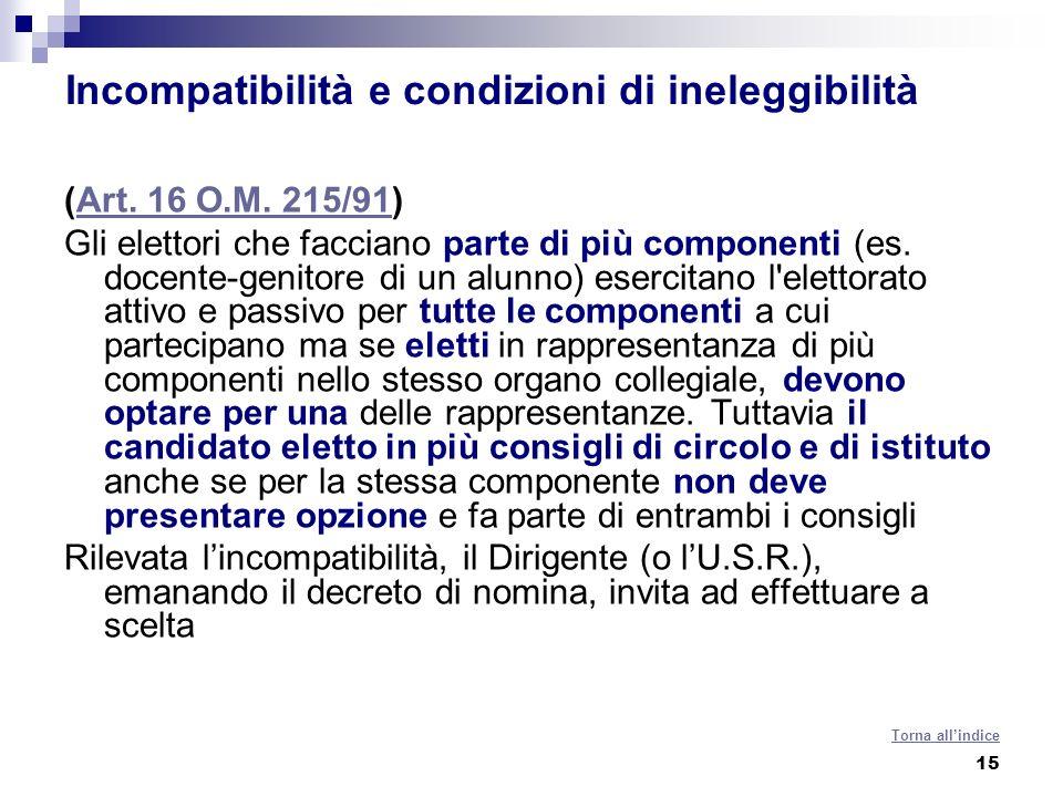 15 Incompatibilità e condizioni di ineleggibilità (Art. 16 O.M. 215/91)Art. 16 O.M. 215/91 Gli elettori che facciano parte di più componenti (es. doce