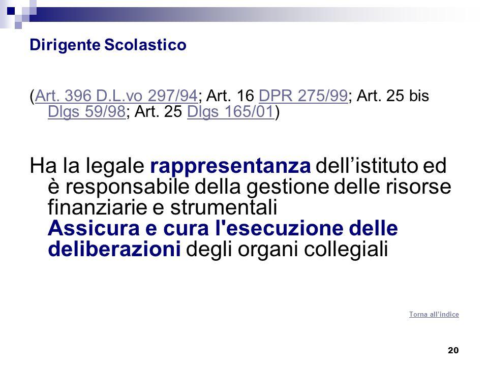 20 Dirigente Scolastico (Art.396 D.L.vo 297/94; Art.