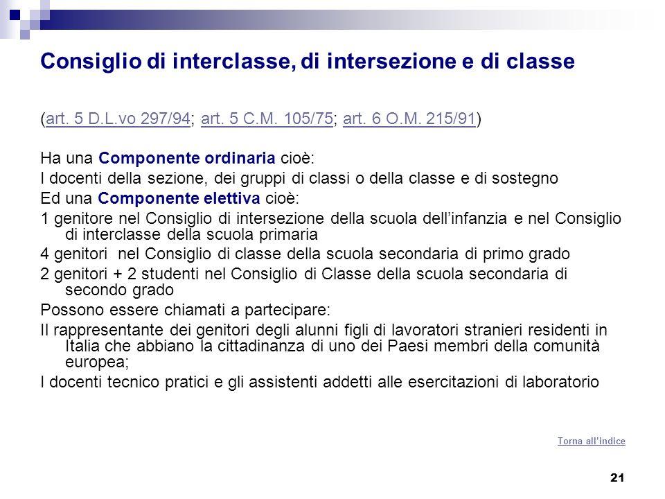 21 Consiglio di interclasse, di intersezione e di classe (art.