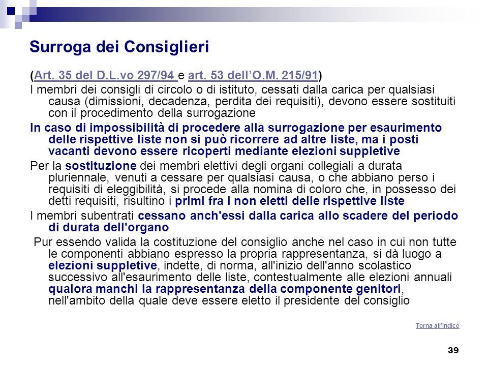 39 Surroga dei Consiglieri (Art.35 del D.L.vo 297/94 e art.