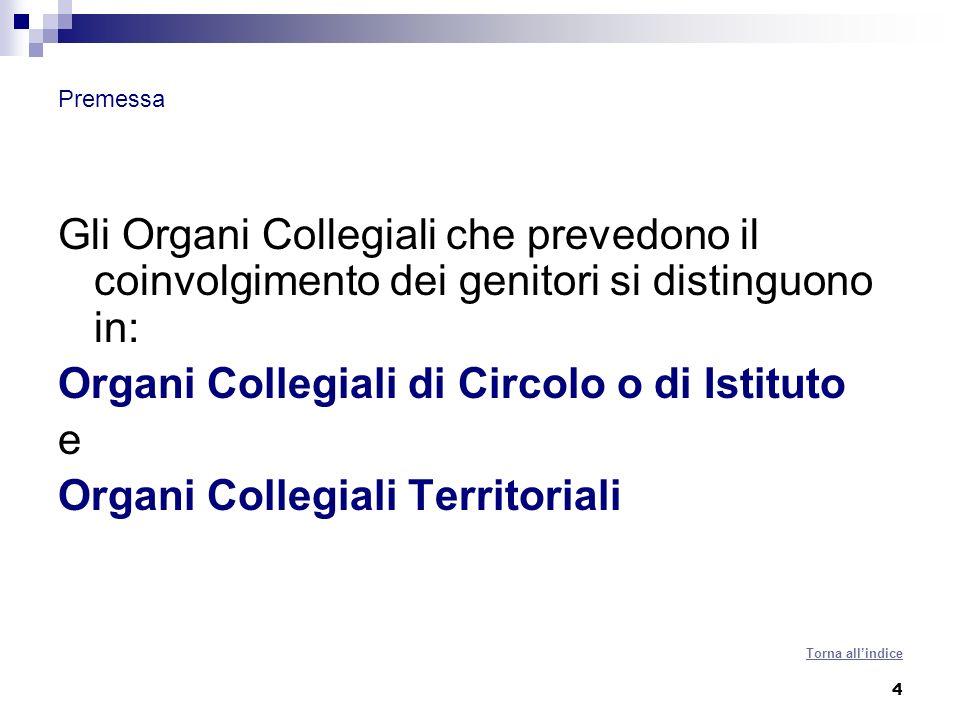 5 Premessa Gli organi collegiali di istituto cui partecipano i genitori sono: Consiglio di intersezione, di interclasse e di classe (art.