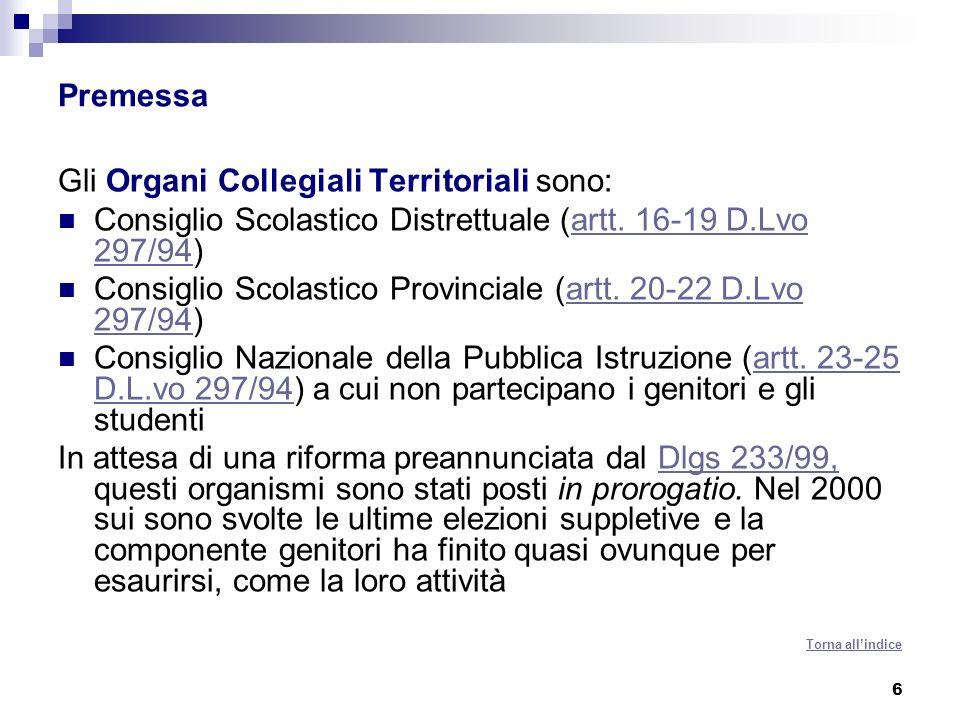 6 Premessa Gli Organi Collegiali Territoriali sono: Consiglio Scolastico Distrettuale (artt. 16-19 D.Lvo 297/94)artt. 16-19 D.Lvo 297/94 Consiglio Sco